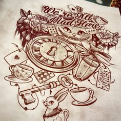 Alice aux pays des merveilles dessin nina tattoo