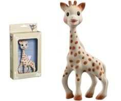Great teething remedy - Sophie la Girafe - made from natural rubber - small hands love grabbing her neck & legs