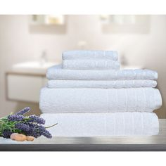 7pc Soft Egyptian Cotton Bath Towel Set in White   Buy New Arrivals