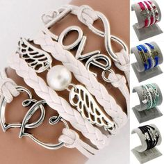 1pcs-New-DIY-Style-fashion-Leather-Cute-Infinity-Charm-Bracelet-CS3G