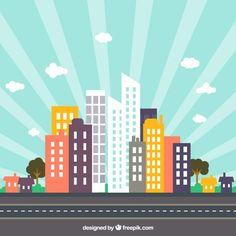 Colorful city skyline with sunburst Free Vector