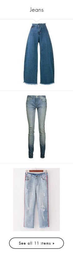 """Jeans"" by quill-1 ❤ liked on Polyvore featuring jeans, pants, denim, blue, oversized jeans, blue jeans, wide leg blue jeans, wide leg jeans, light denim and slim cut jeans"