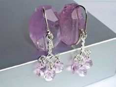 Rosaline Pink Swarovski Crystal Pears and Sterling Silver Chandelier D | JanellDunlapJewelryDesigns - Jewelry on ArtFire