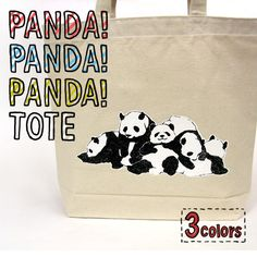 【5匹のパンダのトートバッグ】のんびり気ままにくつろぐパンダのトート☆【2012_野球_sale】【楽天市場】