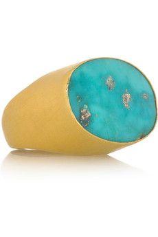 Halleh 18-karat gold and turquoise ring