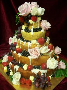 NAKED WEDDING CAKE In victorian Sponge and fresh berries and Vintage roses www.frescofoods.co.nz Email: fresco@woosh.co.nz