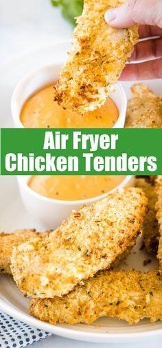 Air Fryer Chicken Tenders - make crispy, golden, juicy chicken tenders in the air fryer in just minutes! Perfect weeknight dinner recipe.