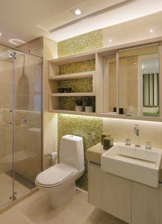 Banheiro com pastilhas verdes - Romero Duarte & Arquitetos