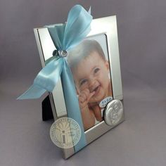 Importers Gifts - Bomboniere for Baby, Baptism and Christening - shiny silver frame with Italian silver holy family - decorated with ribbon. Provide us your photos and we'll insert them and decorate including a printed card tag. Baby Boy Christening Outfit, Baby Baptism, Baptism Favors, Baptism Ideas, Godfather Gifts, Card Tags, Cards, Godparent Gifts, Wood Bridge