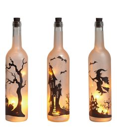 Look at this LED Halloween Wine Bottle Candle Set on #zulily today!