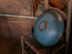 Early large Hand turned wood bowl w /Blue paint Blacktavernprimitives:  offering