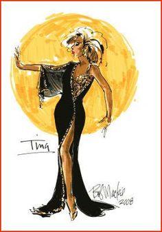 Bob Mackie sketch of dress for Tina Turner