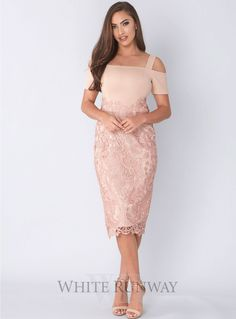 A gorgeous midi-length dress by Grace & Hart. A fitted off shoulder style featuring a floral cut-out lace skirt and thin shoulder straps. Plus Size Jumpers, Off Shoulder Fashion, Cold Shoulder Dress, Shoulder Straps, Mother Of The Bride, Lace Skirt, Strapless Dress, Cocktail Dresses, Floral