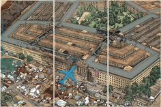 Crying Landscape: Pentagon after 9/11 会叫的风景/YANG JIECHANG Crying Landscape: Pentagon after 9/11 会叫的风景, 2002  one from a set of five triptychs; ink and color on paper 118 1/10 × 196 9/10 in 300 × 500 cm Photo: courtesy of The Metropolitan Museum of Art Ink Art: Past as Present in Contemporary China, The Metropolitan Museum of Art, New York