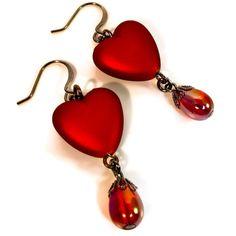 Red Heart Earrings, Valentines Earrings, Crimson. $11.50, via Etsy.