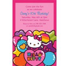 Hello Kitty Rainbow Custom Invitation - Party City