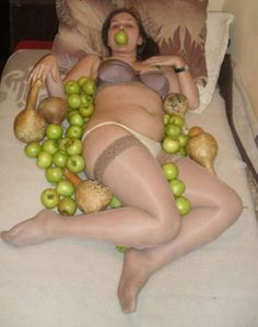 Woman on Bed Fruit Epic Sexy Fails Bad Glamor Shots Dating Sites Profile Pics Awkward Family Photos