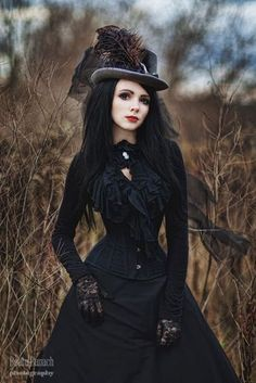 Gothic Victorian Elegance (steamgoth black ruffle blouse, black corset, black skirt, black lace gloves, black choker with cameo broach/brooch, gray hat with large feather plume) - For costume tutorials, clothing guide, fashion inspiration photo gallery,