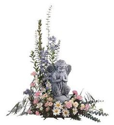 Angel with Pastel Flowers - Ray Hunter Florist & Garden. Casket Flowers, Grave Flowers, Cemetery Flowers, Funeral Flowers, Arrangements Funéraires, Funeral Floral Arrangements, Funeral Gifts, Funeral Sprays, Cemetery Decorations