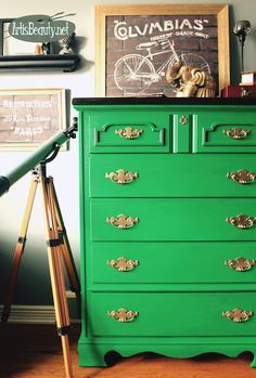 Emerald Green Gorgeous Bohemian Eclectic Rescued Dresser Before and after painted makeover general finishes