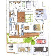 清家修吾さんはInstagramを利用しています:「. 【ボツプラン182】 キッチンと繋がってるダイニングテーブルは幅が1mくらいあるんやけど、それだと向かい合ってる人同士の距離が結構遠いし、人が座るとキッチン側の通路が狭くなるので、テーブルの幅を80センチくらいにしたほうがいいね。 . 1階のWICは便利やろうね。…」 House Layouts, House Plans, Floor Plans, Flooring, How To Plan, Architecture, House Styles, Room, Instagram