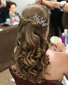 31 Ideas For Bridal Party Hairstyles Updo Curls - - Quince Hairstyles, Party Hairstyles, Bride Hairstyles, Stylish Hairstyles, Quinceanera Hairstyles, Simple Wedding Hairstyles, Prom Hair, Bridesmaid Hair, Hair Looks