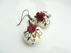 Shabby chic red rose earrings handmade from polymer by fizzyclaret