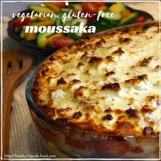 Layers of grilled aubergine (eggplant), tomato sauce & potato slices, with a cheesy topping, make this veggie moussaka a filling, rich & delicious dinner.