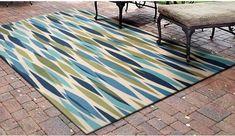 "Indoor Outdoor Area Rug 5'3""x7'5"" Blue Green Patio Deck Sun Room Carpet Flooring #Waverly #Nautical"