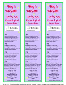 Free fact on phonological disorders bookmark for BHSM!