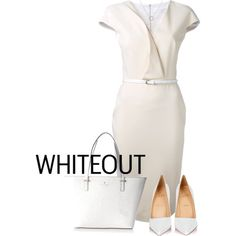white by bucka-1 on Polyvore featuring moda, Victoria Beckham, Christian Louboutin, Kate Spade and Adina Reyter