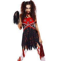 Halloween Gr.M Zombie Damen Kostuem Cheerleader Cheer Leader Karneval School Student Horror Hexe Vampir Zombiekostuem