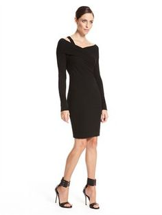Long Sleeve Twist Cold Shoulder Dress
