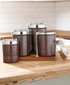 Sets of 4 Stainless Steel Canisters