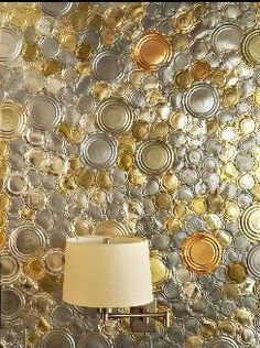 tin cans, on the wall.