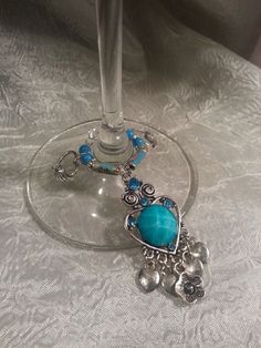 Beautiful Turquoise Hearts Wine Glass Charms and Bling #ByLisaAnn