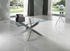 Angel Cerda Modern Rectangular Glass and Chrome Coffee Table
