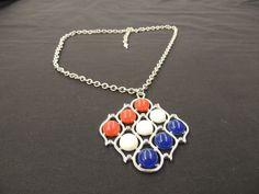 Vintage Red White Blue Plastic Cabochon Slivertone Pendant Necklace Sarah Cov #SarahCoventry