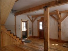 Exposed beams in a straw bale home