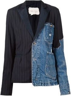 Greg Lauren Patchwork Distressed Denim Blazer - The Parliament - :You can find Distressed denim and more on our website.Greg Lauren Patchwork D. Denim Blazer, Fashion Details, Look Fashion, Fashion Design, Fashion Ideas, Fashion Outfits, Fashion Trends, Recycled Denim, Recycled Fashion