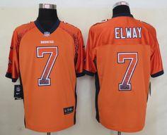 Men's NFL Denver Broncos #7 Elway Drift Fashion Orange