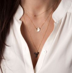 Suspended Hammered Circle Necklace / Personalized Initial Disk 14k Gold Filled / Monogram Circle Necklace Gold Layering Necklace LN213.L.hm by LayeredAndLong on Etsy