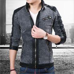 lokomotif erkekler için kot ceket erkek patchwork deri ceket erkek deri ceket ve mont rahat denim pu deri(China (Mainland))