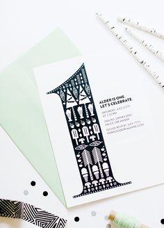 Black and white 1st birthday invites for Alder by Mara Dawn | 100 Layer Cakelet