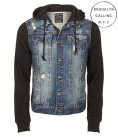 Brooklyn Calling Destroyed Denim Hoodie Jacket - Aeropostale