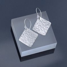 Sterling Silver Square Earrings, Square Sterling Silver Earrings with Hammered Finish, Hammered Silver Earrings Made To Order by ianaJewellery on Etsy