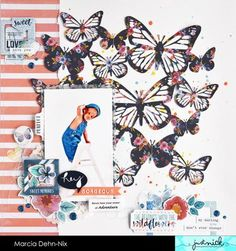 Hey Gorgeous - scrapbook layout created with the awesome Butterfly Background 2 digital cut file from JustNick Studios and the gorgeous Cocoa Vanilla Studios Wild At Heart collection.