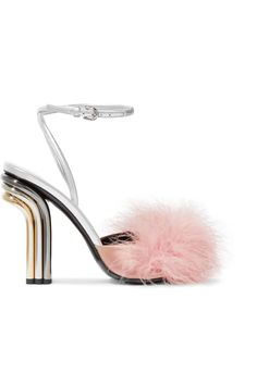0495c289e Marco De Vincenzo - Feather-embellished satin and metallic leather sandals