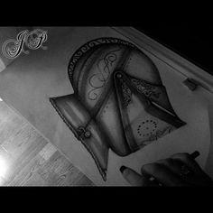 Mid-Knight in Shining Armour 2014 #pencil #charcoal #art #sketch #drawing #illustration #blackandwhite #blackandgrey #bng #bw #helmet #knight #medieval #armour #flourish #shading