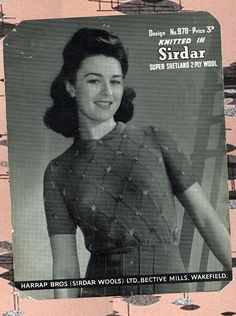 Original Vintage Womens Ladies Knitting Pattern 1950s 1940 Knitting Patterns, Crochet Patterns, Land Girls, Knit Wear, Vintage Knitting, Secretary, Pin Up Girls, Rockabilly, Knit Patterns